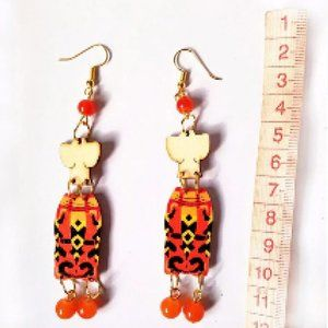 Red Orange Wooden African Tribal Woman Earrings
